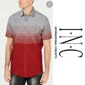 Men's INC Red/Gray Ombré Button Down Top Size L